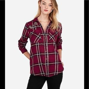 NWT Express Embellished Flannel Boyfriend Top SML